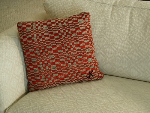 Red & White Op art Pillow 16 inches